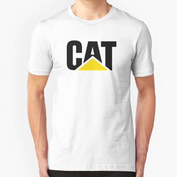 Caterpillar Potrait Logo Black Yellow Slim Fit T-Shirt
