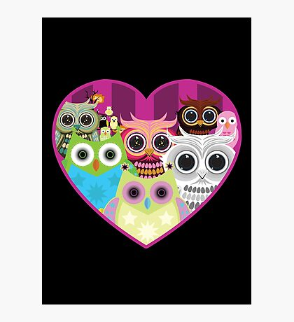 Love Owls 1 (black) Photographic Print