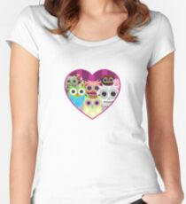 Love Owls 1 (white) Women's Fitted Scoop T-Shirt