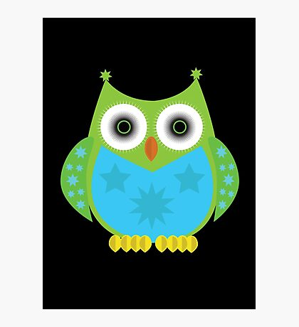 Star Owl - Green Blue 2 Photographic Print