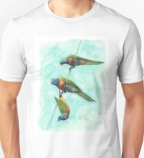 Rainbow Lorikeets on Wire T-Shirt