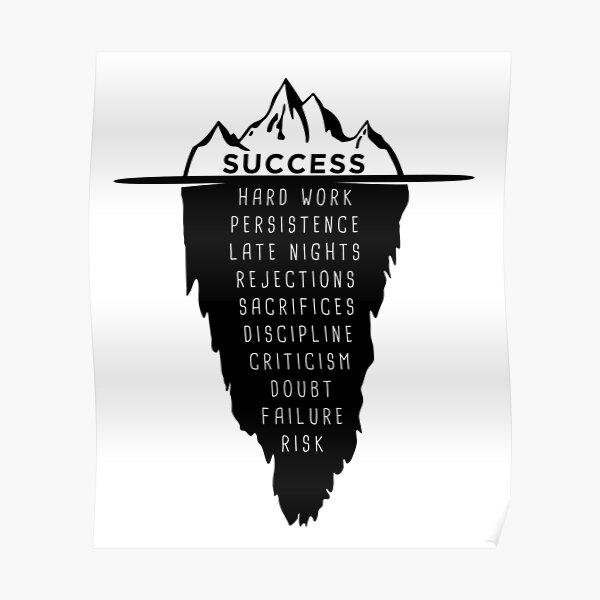 motivational saying success iceberg millionaire Poster