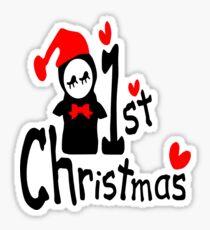 My 1st Christmas txt penguin vector art  Sticker