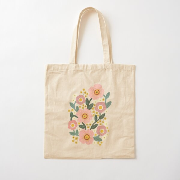 Pink Flowers Cotton Tote Bag