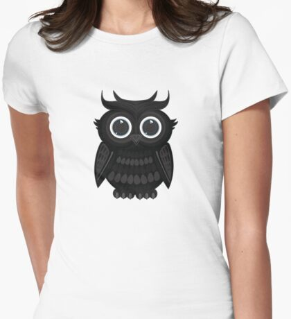 Black Owl - White T-Shirt