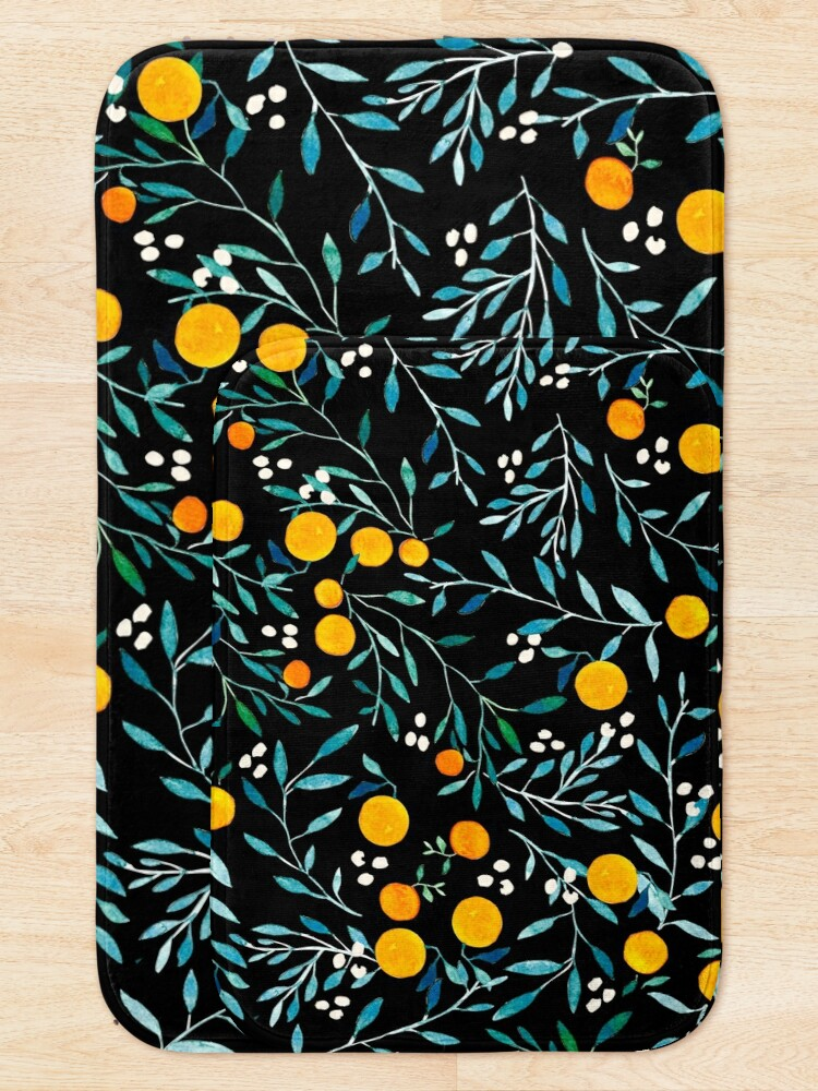 Alternate view of Oranges on Black Bath Mat