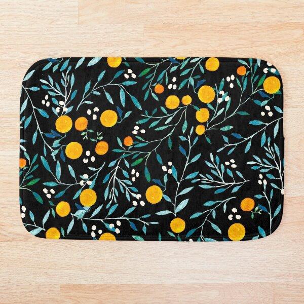 Oranges on Black Bath Mat