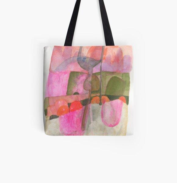Zwischen den Dämmerungen. Aquarell. Abstrakt. Pink. Grün. Coral. Allover-Print Tote Bag