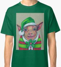 Santas Lil' Helper, Christmas Pig Classic T-Shirt