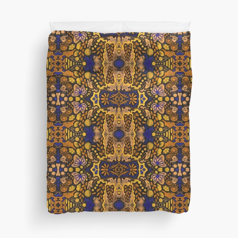 Indian Summer, Bohemian Ethnic Pattern, Golden Yellow Blue Duvet Cover