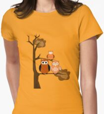 Orange Owls Womens Fitted T-Shirt