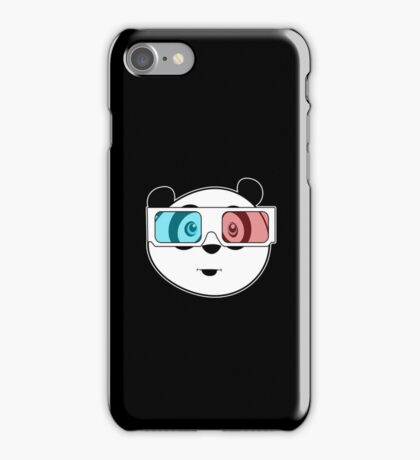 Panda - 3D Glasses (Black) iPhone Case/Skin
