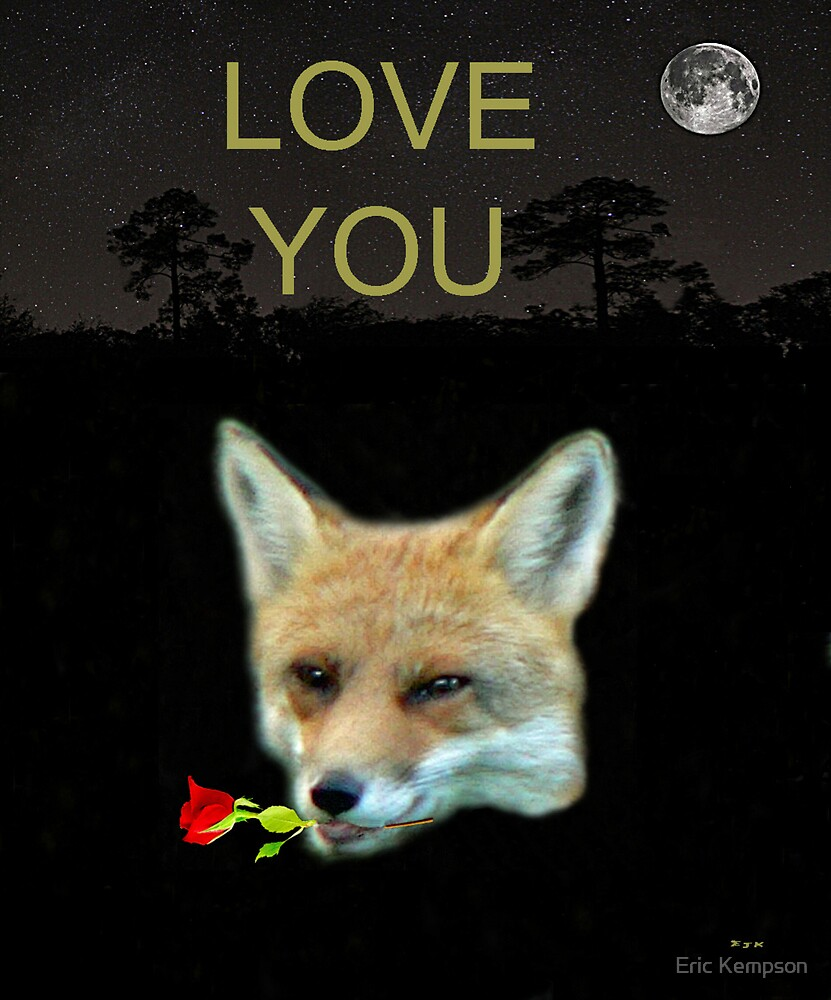 Eftalou Fox Max with rose LOVE YOU by Eric Kempson