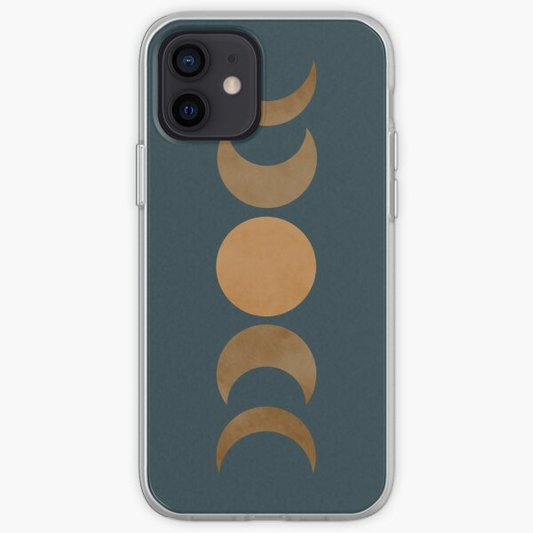 Teal and Gold Moon Phases iPhone Soft Case