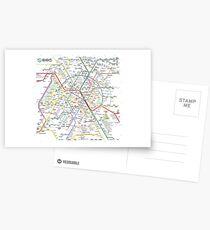 New Paris Subway Map Postcards