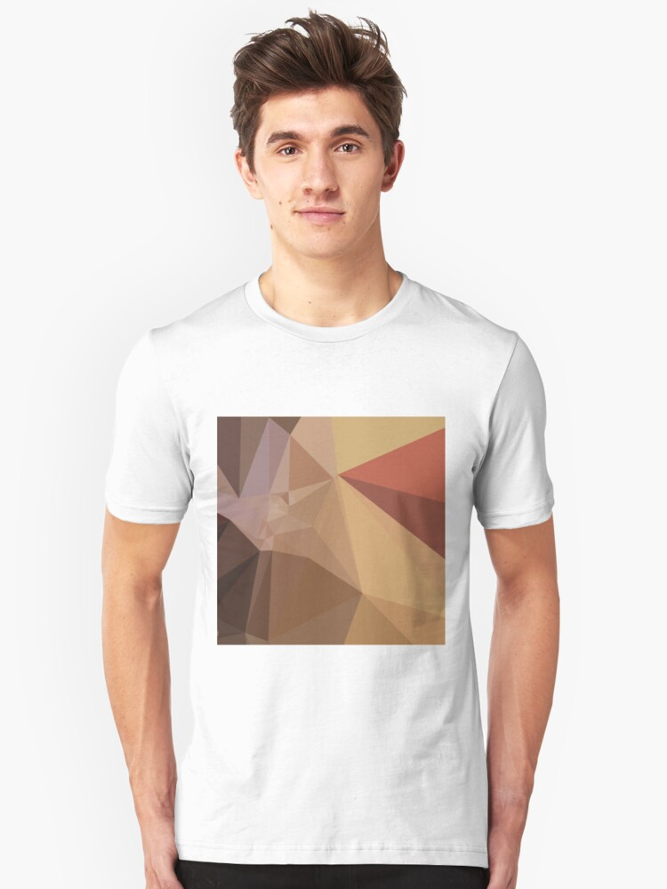 Antique Brass Brown Abstract Low Polygon Background Unisex T-Shirt Front