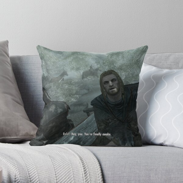 Skyrim Pillow| Hey You You're Finally Awake Throw Pillow