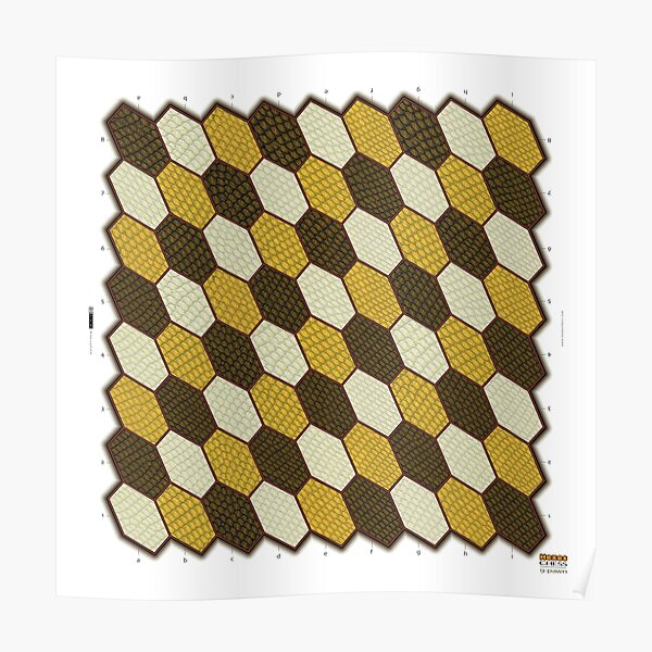 Hexes 9-Pawn Chess Board Poster