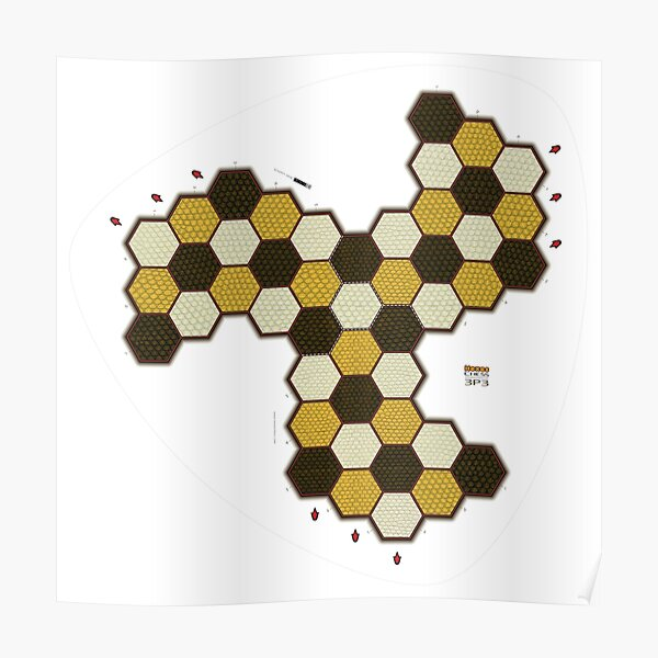 Hexes 3P3 Chess Board Poster