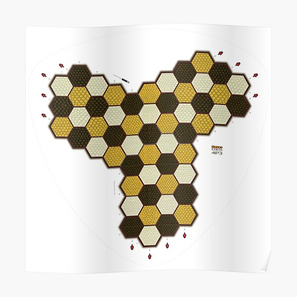 Hexes 4P3 Chess Board Poster
