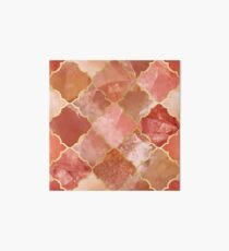 Rose Quartz & Gold Moroccan Tile Pattern Art Board Print