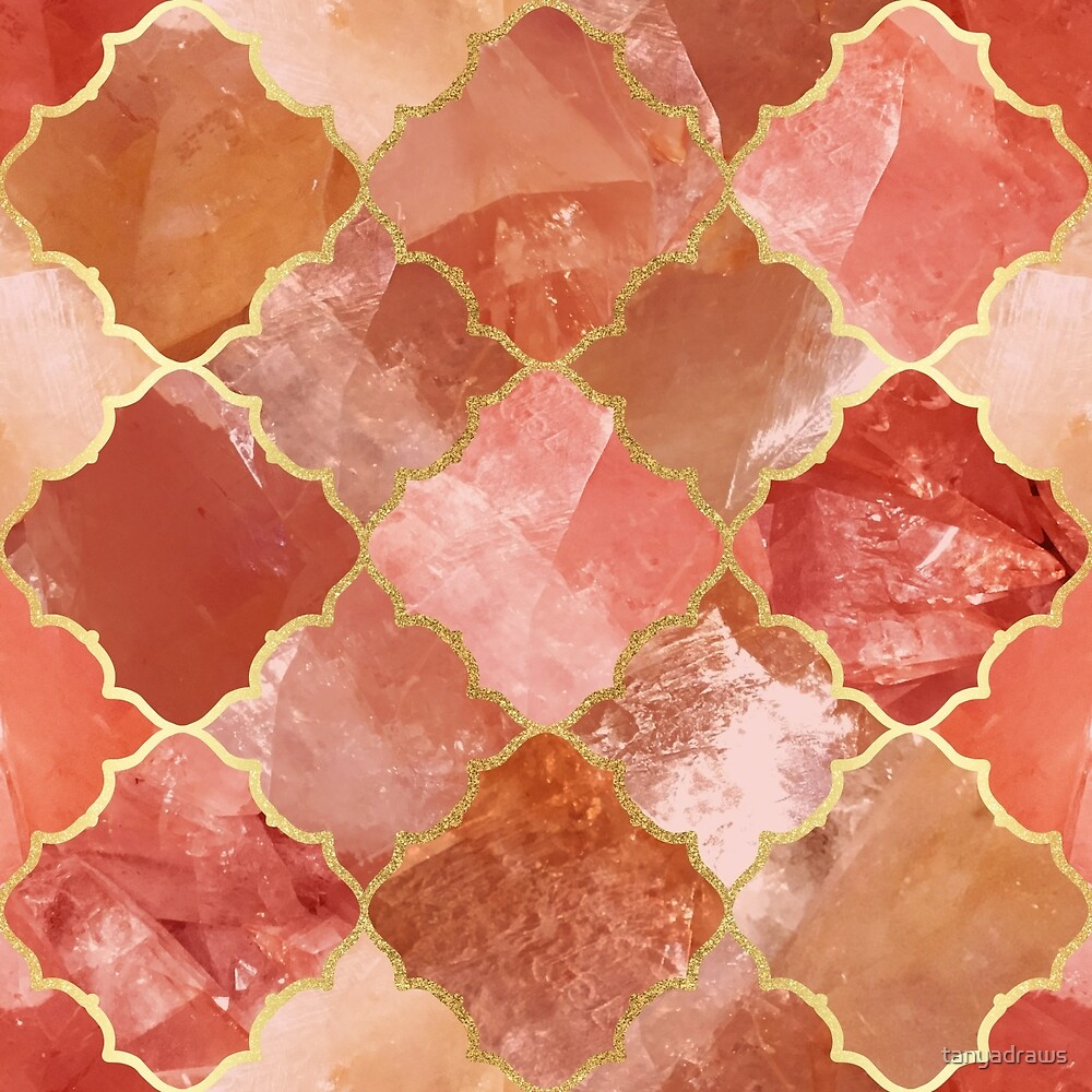 Rose Quartz & Gold Moroccan Tile Pattern by tanyadraws