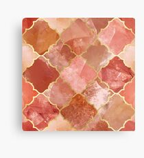 Rose Quartz & Gold Moroccan Tile Pattern Metal Print