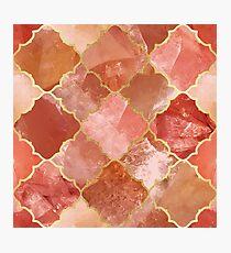 Rose Quartz & Gold Moroccan Tile Pattern Photographic Print
