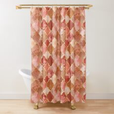 Rose Quartz & Gold Moroccan Tile Pattern Shower Curtain