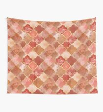 Rose Quartz & Gold Moroccan Tile Pattern Wall Tapestry