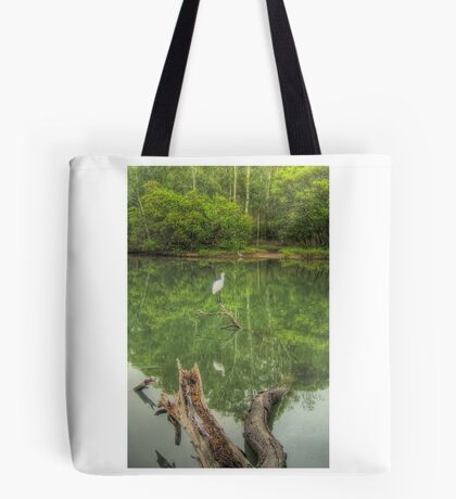 Spoonbill on a tranquil lake Tote Bag