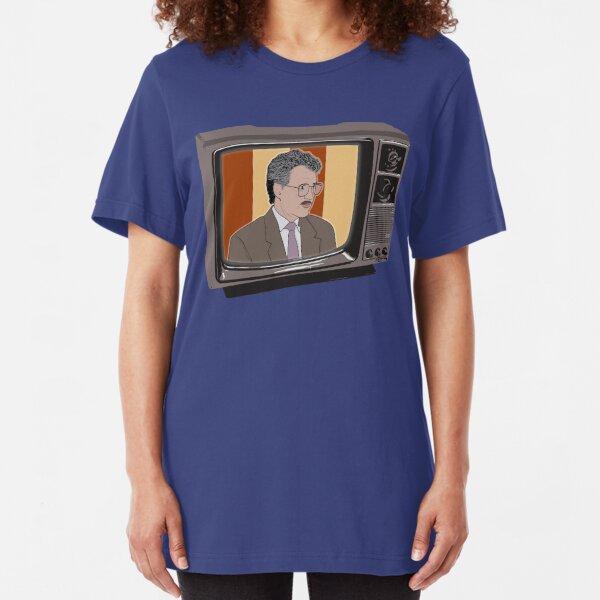 Heroes of Quiz Shows: Vintage Alex Trebek (80s Jeopardy) Slim Fit T-Shirt
