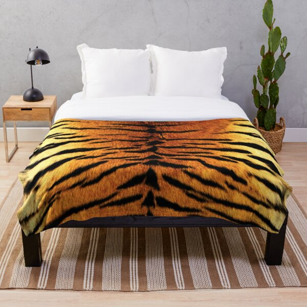 Realistic Tiger Skin Print Throw Blanket