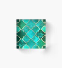 Green Quartz & Gold Moroccan Tile Pattern Acrylic Block