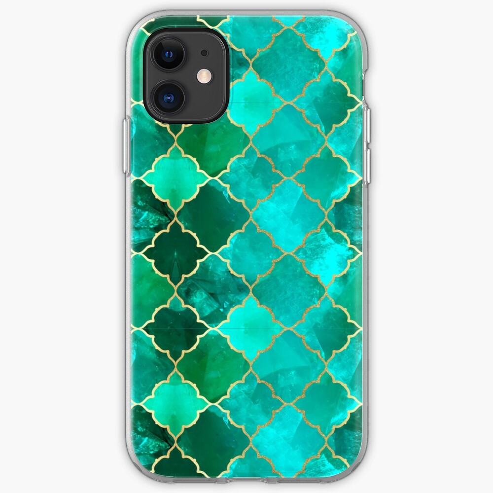 Green Quartz & Gold Moroccan Tile Pattern iPhone Soft Case