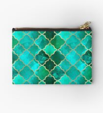 Green Quartz & Gold Moroccan Tile Pattern Zipper Pouch