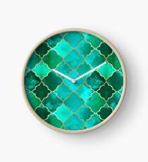 Green Quartz & Gold Moroccan Tile Pattern Clock