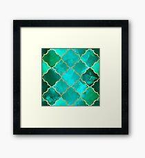 Green Quartz & Gold Moroccan Tile Pattern Framed Print