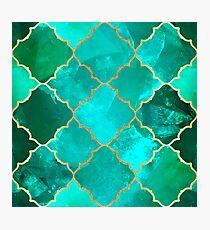 Green Quartz & Gold Moroccan Tile Pattern Photographic Print