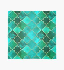 Green Quartz & Gold Moroccan Tile Pattern Scarf