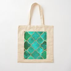 Green Quartz & Gold Moroccan Tile Pattern Cotton Tote Bag