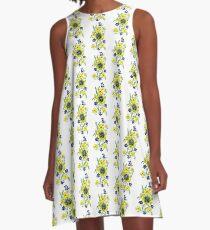Yellow Flower Spray A-Line Dress