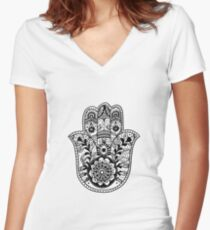 The Hamsa Hand Women's Fitted V-Neck T-Shirt
