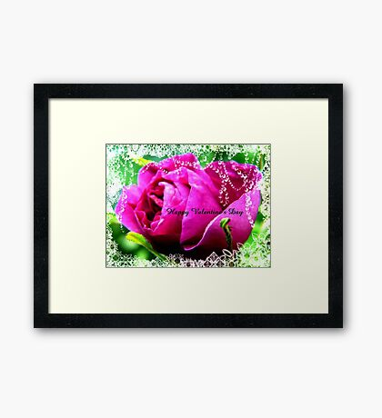 Roses and Jewels,Valentine card Framed Print