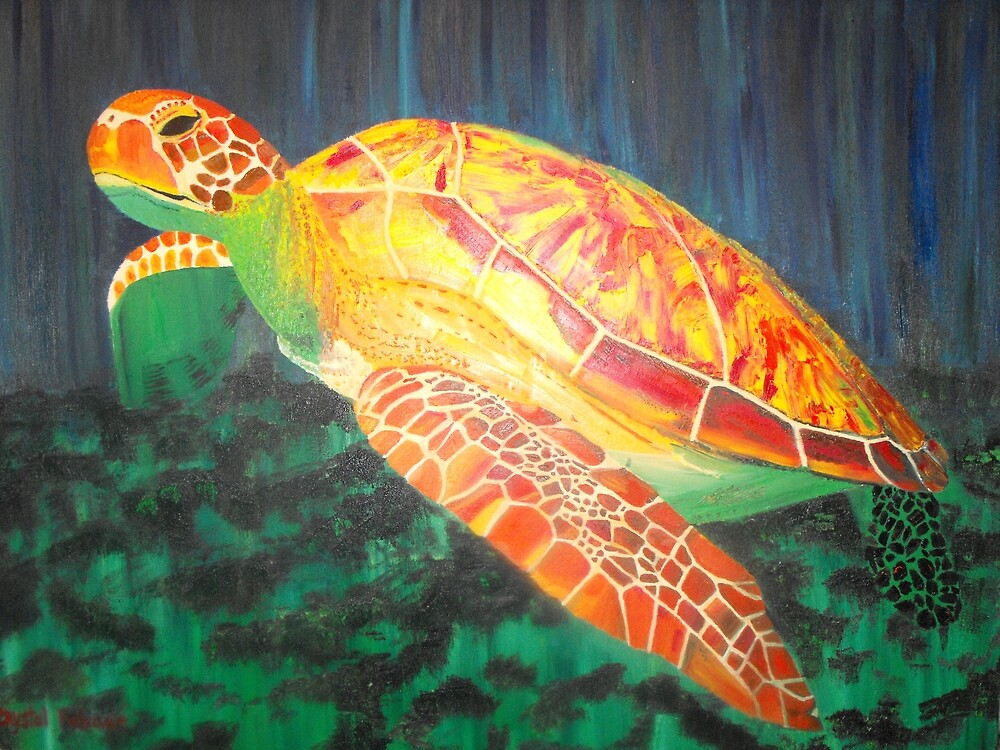 Sea turtle within rays of sunshine by Crystal Fobare