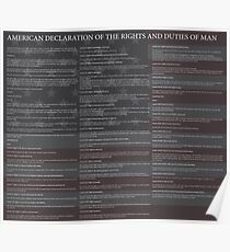 American Declaration of the Rights and Duties of Man Black Background and US Flag Poster