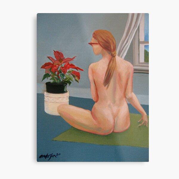 nude girl at window interior oil painting Metal Print