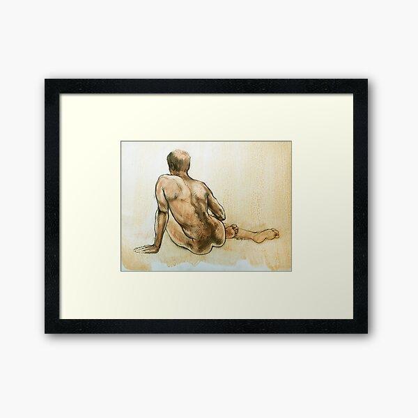 Adam resting ~ original drawing Framed Art Print