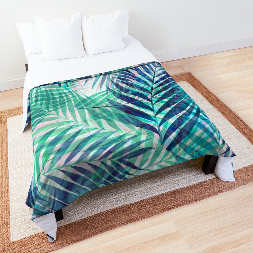 Palm Leaves - Indigo Green Comforter