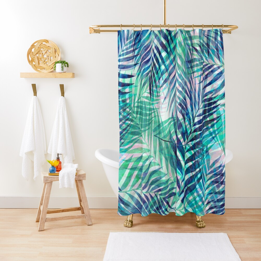 Palm Leaves - Indigo Green Shower Curtain